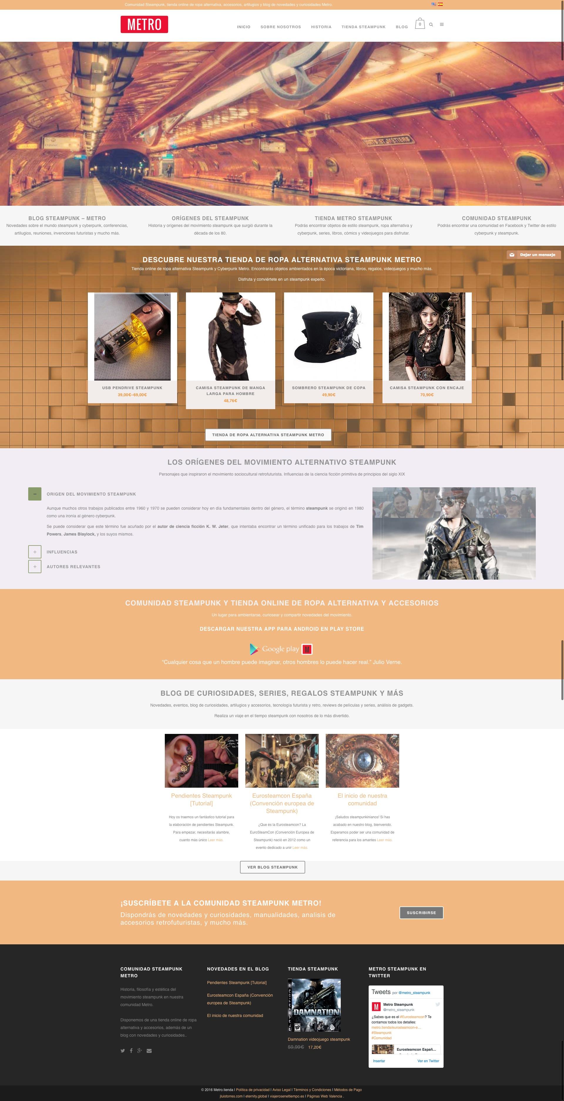 35909d5ea34f2 Tienda Online para comunidad Steampunk - Diseño Web